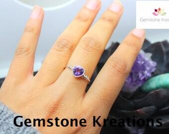 Amethyst Ring, 925 Sterling Silver Ring, Heart Ring, Stacker Rings, Birthstone Rings, Midi Rings