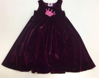 Made in London little girl burgundy velvet dress