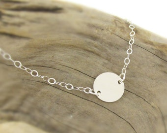 Sterling Silver Disc Necklace Simple Everyday Jewelry Minimalist Necklace Single Sterling Circle Silver Necklace Tiny Disc Necklace