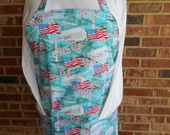 Plus Size Apron, Women's Full Apron, 2 pockets Apron, Washington Cherry Blossom Apron, Teacher Apron, July 4th Apron