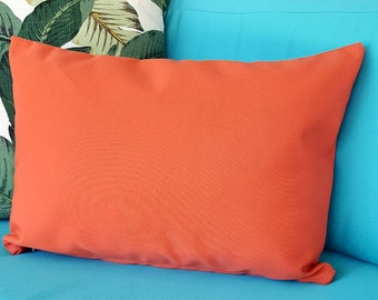 Sunbrella Coral Canvas Indoor Outdoor Square Lumbar Bolster Pillow Cover with Hidden Zipper