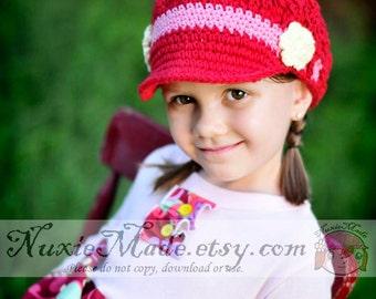 12-24 months Girls Hat, Crochet Hat, Kids Hat, Newsboy Hat, Newsgirl Hat, Red Hat, Hat with Brim, Child Hat, Childrens Hat, Hat with Flowers