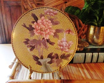 Vintage Cloisonne Dish, Oriental Floral Plate, Chinoiserie Decor, Coffee Table Decor,Pink Peony, Butterfly, Chinese Cloisonne Footed Dish
