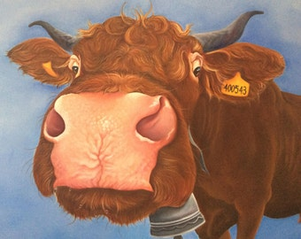 ORIGINAL french saler cow painting