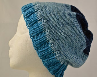 Slouchy Hat, Watch Cap, Striped Beanie, Blue Striped Hat, Oversized Beanie, Hat for Adults and Teens, Gender Neutral, All Season, Hand Knit