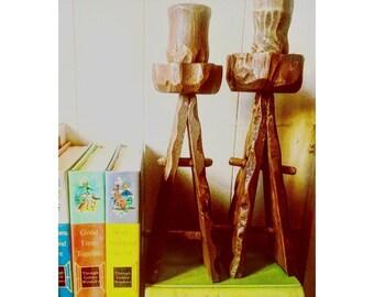 vintage | wooden candlesticks