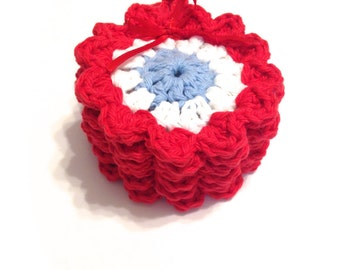 Patriotic Crocheted Face Scrubbies-Miniature Set Of Six-Red, White, And Light Blue