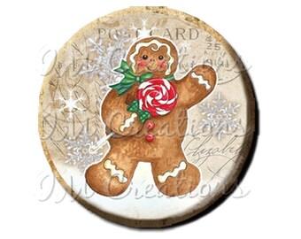 "LIQUIDATION SALE! Vintage Christmas Gingerbread Man Pocket Mirror, Magnet or Pin 2.25"""