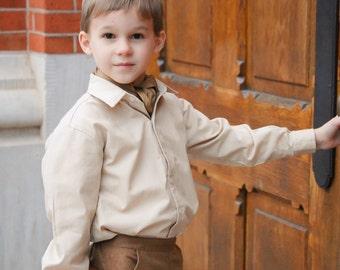 Boy's Dress Shirt, boy cotton shirt, special occasion, wedding boy shirt, long sleeved oxford, size 2T, 3T, 4T, 5, 6, 7, 8, 10, 12