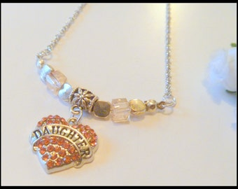 Handcrafted Pink Rhinestone Daughter Heart Pendant Necklace