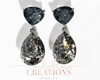 Black Diamond Patina Swarovski Crystal, Earrings, Bridal, Great Gatsby Style