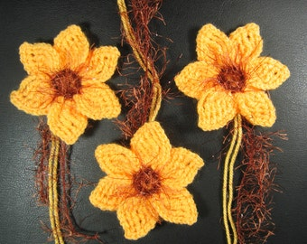 Hand knitted crochet large flowers daffodils narcissus applique decoration for corsage brooch hairband light yellow and copper