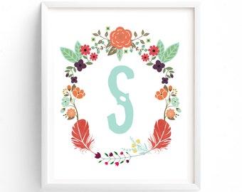 Custom Order, Letter S , Monogram, Feathers, Flowers, Blue, baby, Nursery, Initial, Poster, Boho