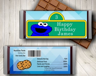 Blue Monster Candy Bar Wrapper, Cookie Candy Wrapper, Blue Monster, Party Favors, Digital or Printed Wrappers