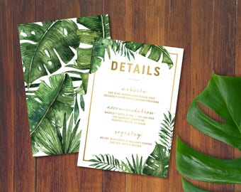 Golden Pineapple Palm and Banana Leaves Details Card