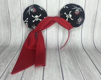 Pirate Inspired Ears Headband, Minnie Ears, Embellished Minnie Ears, Disney Cruise Ears, Pirate Ears, Pirate Headband