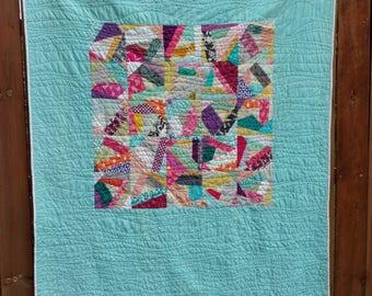 ON SALE Rainbow Sprinkles Throw Sized Modern Quilt, Rainbow Toddler Quilt