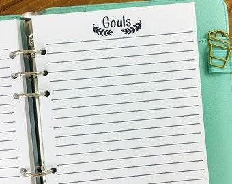 A5 Goals printed planner insert - lined paper - aspiration tracker - dream big - target desire