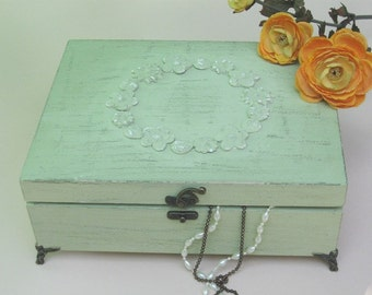 "Wooden Jewelry Box Light Green ""Shabby Chic"" with angels feet , jewelry cabinet, jewelry storage, jewelry box vintage"