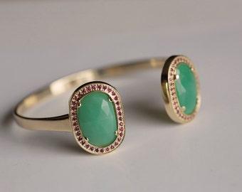 Gold Cuff Bracelet, Gold Bangle, Ruby Bracelet, Chrysoprase Gemstone Bracelet, Gemstone Bracelet, Bohemian Green Bracelet