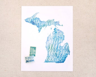 "Hand lettered Michigan art print, watercolor in blue, green / ""if you seek a pleasant peninsula, look about you"" / Christmas gift"