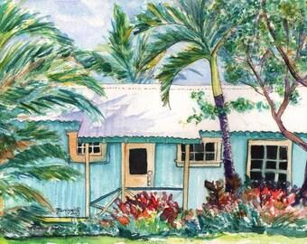 Plantation cottage art prints,  Kauai Plantation Cottages, Kauai Vacation art, Kauai art, Hawaii paintings, Hawaiian prints, old plantation