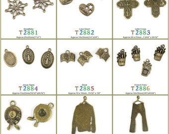 Jewelry Making Charms Pendant Snowflake Love Heart Latin Cross Jesus Signs Book French Fries Lady Straw Hat Clothes Pants Trousers Bronze