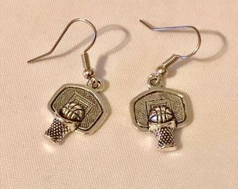Silver Basketball Hoop dangle Earrings