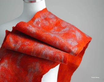 Hand felted bright red holiday scarf in wool and silk