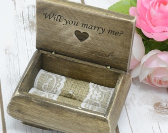 Will you Marry Me Box Proposal Box Engagement Ring Box Proposal Ring Marry Me Wooden Box
