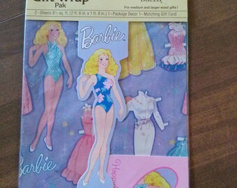 MIP Vintage Buzza BARBIE Paper Doll Gift Wrap Pak Wrapping Paper Decor And Card