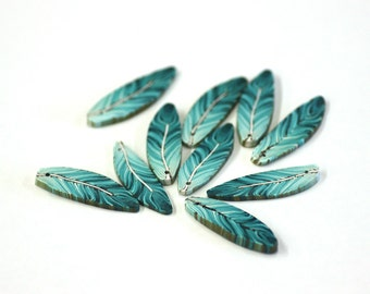 Teal Feathers, Turquoise Feather Beads, Blue Green Polymer Clay Beads 10 pieces