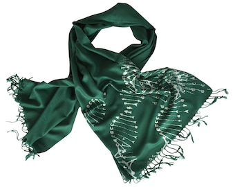 DNA print scarf. DNA double helix print pashmina, hand silkscreened. Your choice of emerald green linen weave & more. Science gift.
