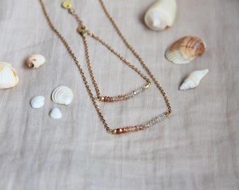 Necklace Gemstone bar Zircon gradient & plated yellow gold, natural gemstone, gift idea, jewelry, ethnic