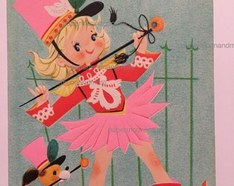 Vintage Birthday Card 8 Year Old NOS Majorette Vintage Pink 1950s