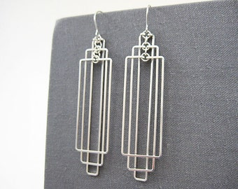 Art Deco Earrings - rectangle earrings, silver geometric jewelry, architecture gifts, modern minimalist wedding - Tiered Rectangles