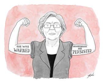 "Print of New Yorker cartoon ""Elizabeth Warren - She Persisted"""