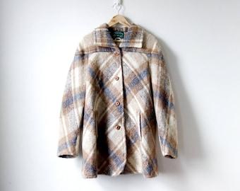70s Plaid Mohair Coat - Blue Tan Ireland Tartan 70s Swing Coat - Wool Irish Plaid Coat - 70s Coat Vintage Coat 70s Clothing - Women's L