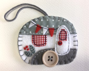 Felt Christmas ornament, Vintage trailer ornament, Vintage caravan ornament, Handmade felt caravan Christmas decoration, Grey and white