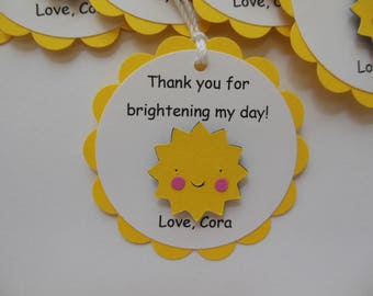 Sun Party Favor Tags - Yellow and White - Baby Shower Favor Tags - Birthday Party Favor Tags - Set of 6