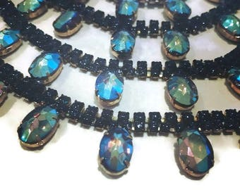 MYSTIQUE  hand painted rhinestone super statement necklace