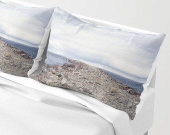 Pillowcases - Rockaway Beach Oregon Pillow Shams - Beach Theme - Original Art - Made to Order