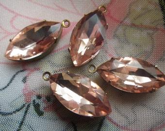 Peach Blush Pink 18X9mm Navette Glass Drops 4 Pcs