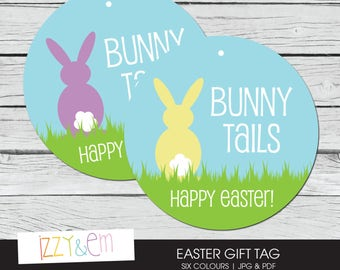 Easter Gift Tag - Printable Easter Tag - Bunny Tails Easter Basket Tag - Printable Gift Tag - Kids Easter Gift - Gift Tags for Favors
