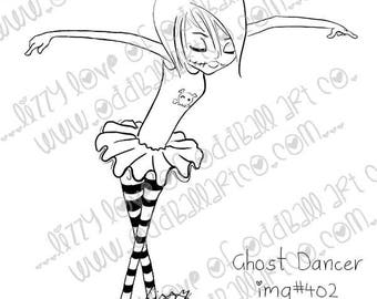 Digital Stamp Instant Download Creepy Cute Big Eye Girl Ballet ~ Ghost Dancer Image No. 402 by Lizzy Love