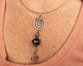 Argentium Sterling Silver and Lampwork Pet Memorial Pendant, Cremains Necklace/ Price is Approx.