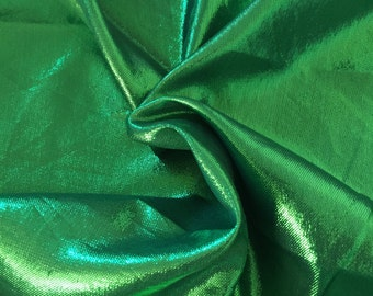 Green metallic fabric, brocade fabric for wedding dress, valance and  decoration, by the yard.