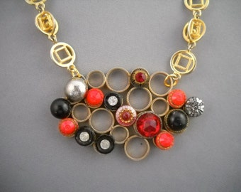 Gold and vintage button necklace with gold chain