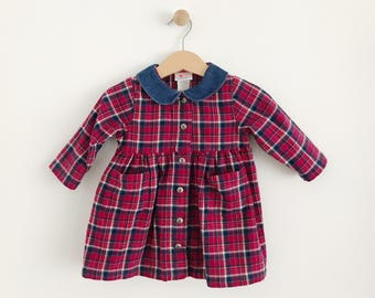 Vintage Baby Girl Carter's Plaid Flannel Dress | size 6 to 9 months