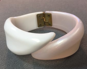 White Moonglow Clamper Bracelet-Free shipping